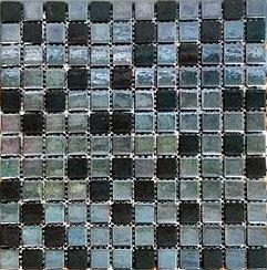 Перламутровая мозаичная плитка зеркально-чёрная