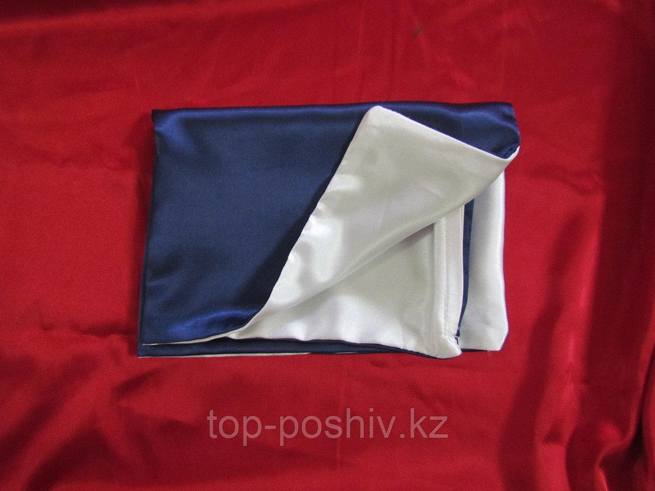 Наволочка двухцветная (бело-синяя) для сублимации, 30х30 см, атлас