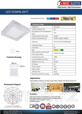 Панель светодиодная накладная квадратная ARINA-28 28W белый 4200K , фото 2