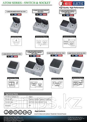 Выключатель одиночный накладной ATOM 10A/ IP54, фото 2