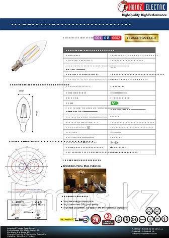 Светодиодная Лампа Эдисона декоративная FILAMENT CANDLE-2 2W 4200K, фото 2