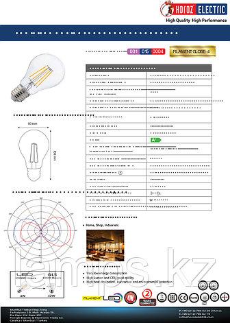 Светодиодная Лампа Эдисона декоративная FILAMENT GLOBE-4 4W 2700K, фото 2