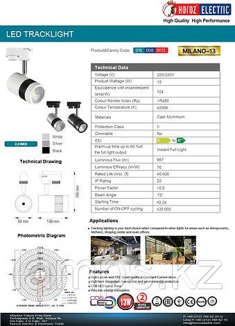 Светильник на шину, трековый, потолочный, светодиодный MILANO-13 13W черный 4200K, фото 2