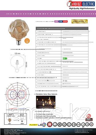 Светодиодная Лампа Эдисона декоративная RUSTIC CRYSTAL-6 6W 2200K , фото 2