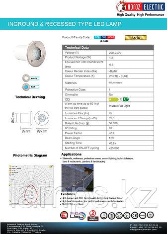 Фонтанный светодиодный светильник SAFIR 1.2W белый , фото 2