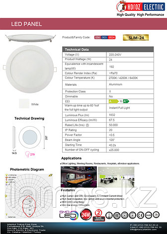 LED панель светодиодная круглая D279 SLIM-24 24W 4200K , фото 2