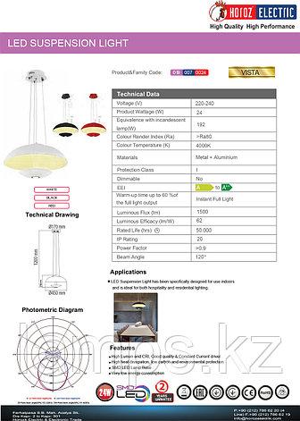 Люстра подвесная светодиодная VISTA 24W черный 4000K, фото 2