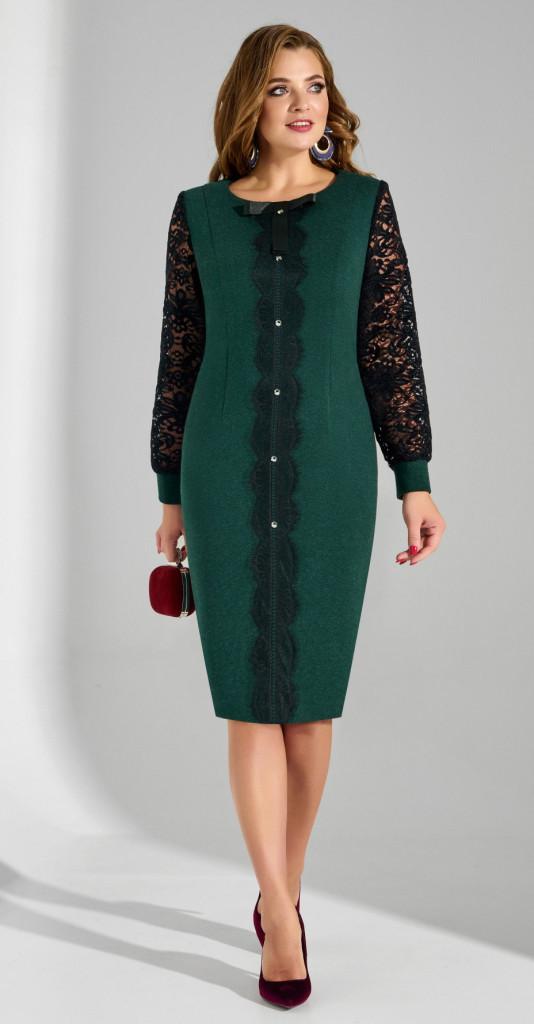 Платье Lissana-3790, черно-зеленый, 50