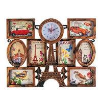 Часы настенные, серия Фото, 'Эйфелева башня', 8 фоторамок, под дерево, 55х42 см