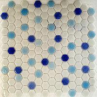 Шестигранная мозаичная плитка белый-голубой-синий
