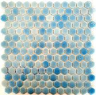 Шестигранная мозаичная плитка светло-голубой