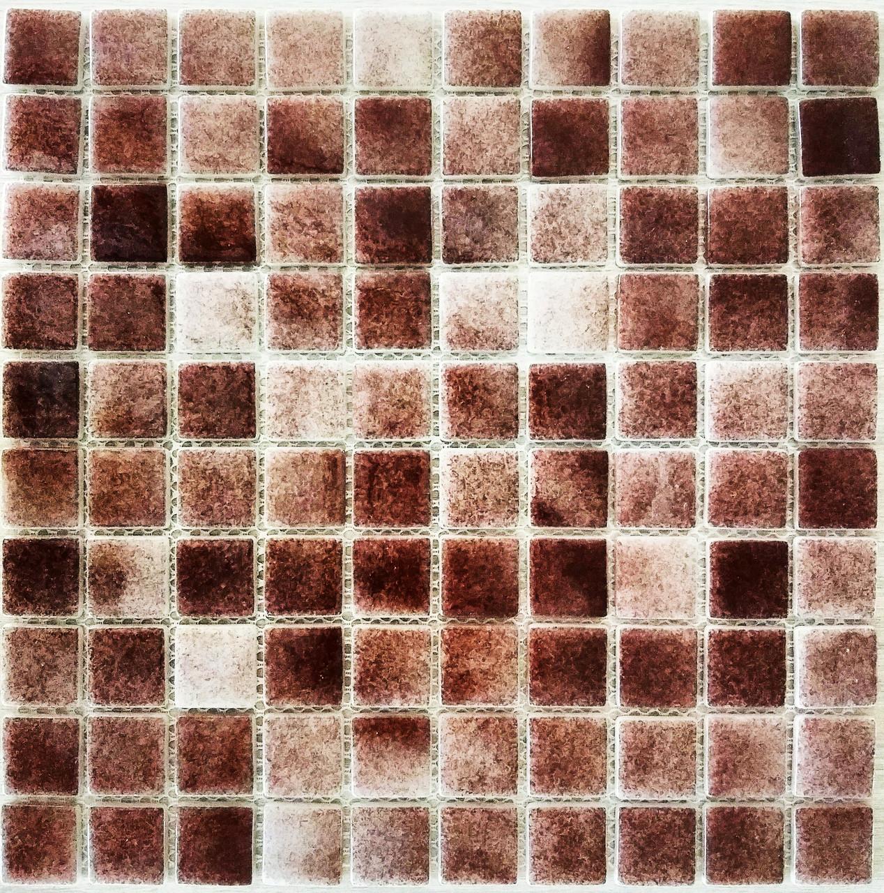 Крупная стеклянная мозаика тёмно коричневый