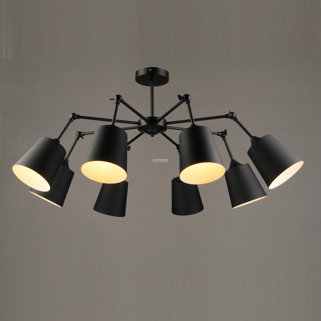 Люстра на 8 ламп черная матовая в стиле Modern