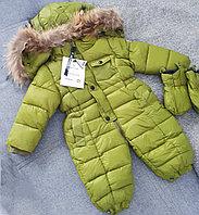 """Зимний комбинезон """"Moncler"""" для мальчиков от 3 до 24 месяцев, зеленый., фото 1"""