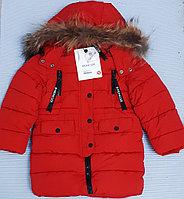 """Зимняя куртка """"Moncler"""" для девочек и мальчиков от 4 до 12 лет, красная."""