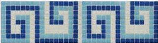 Фриз для бассейна бело-сине-голубой