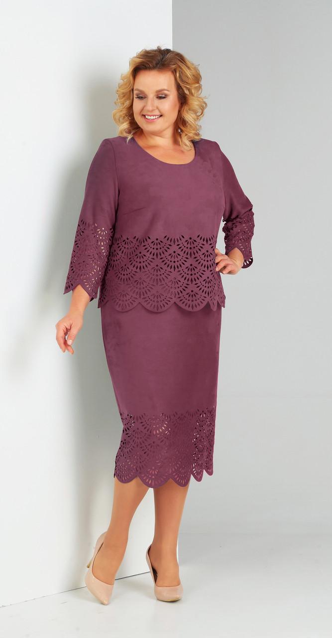 Платье Диамант-1469/1, бордо, 52