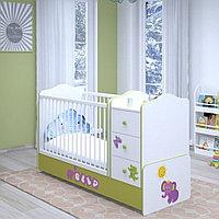Кроватка детская Polini Basic Elly с комодом, белый-зеленый