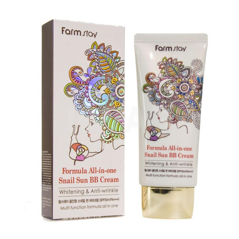 Улиточный ББ крем с высокой УФ защитой Farmstay All In One Snail Sun BB Cream SPF 50 PA++, 50гр