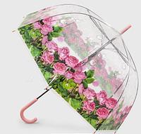 Зонт трость полуавтомат, прозрачный с рисунком