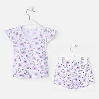 Пижама для девочки кор.рукав, цвет белый/ love, рост 80