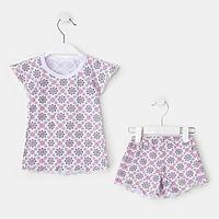 Пижама для девочки кор.рукав, цвет белый/цветы1, рост 92