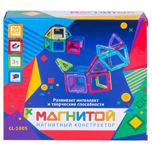 Магнитой  Конструктор магнитный 12 квадратов, 8 треугольников (8 - с окном)