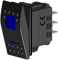 Кнопка включения трёхпозиционная синий (ВКЛ)-ВЫКЛ-ВКЛ