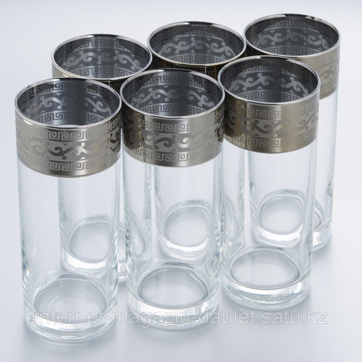 Набор стаканов ГУСЬ ХРУСТАЛЬНЫЙ GE08-402 Версаче с рисунком 6шт для сока 290мл