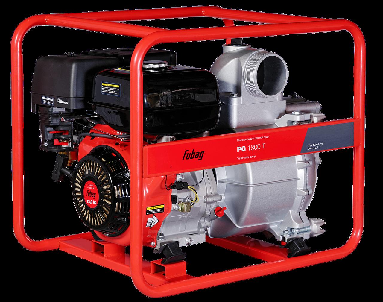 Мотопомпа для сильнозагрязненной воды, FUBAG PG 1800 T, 1800 л/мин, 26м