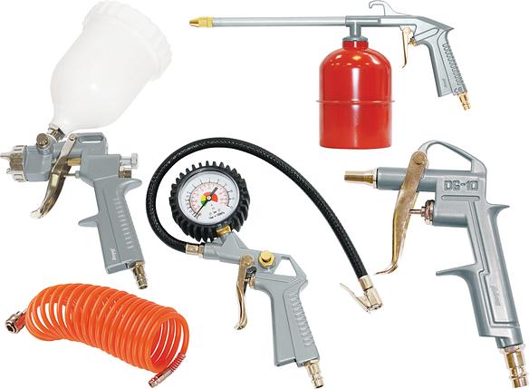 FUBAG Набор пневмоинструмента 5 предметов (краскораспылитель с верхним бачком), фото 2