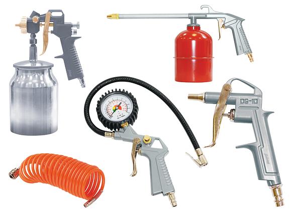 FUBAG Набор пневмоинструмента 5 предметов (краскораспылитель с нижним бачком), фото 2