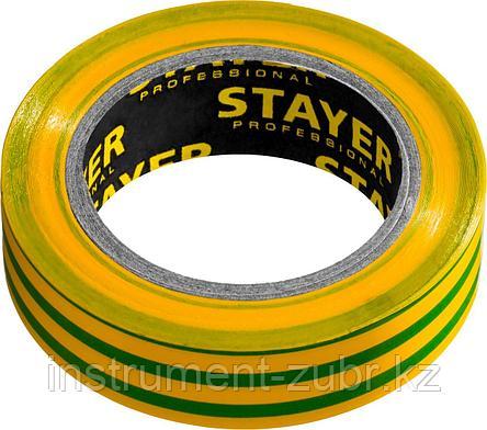 STAYER Protect-10 Изолента ПВХ, не поддерживает горение, 10м (0,13х15 мм), желто-зеленая, фото 2
