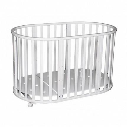 """Кровать детская """"Северянка-3"""" 6 в 1  (белая) маятник поперечный и на круглую и на овальную кроватку"""