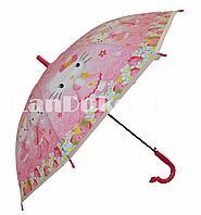 Зонт трость со свистком розовый Hello Kitty