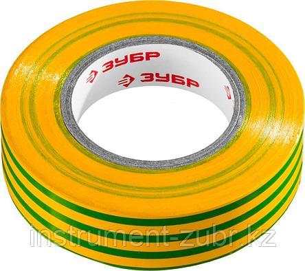 Изолента, ЗУБР Мастер 1234-6, ПВХ, не поддерживающая горение, 6000 В, 19мм х 20м, желто-зеленая, фото 2