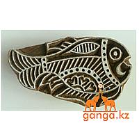 Печать для мехенди Рыбка (деревянная), КОД 0372