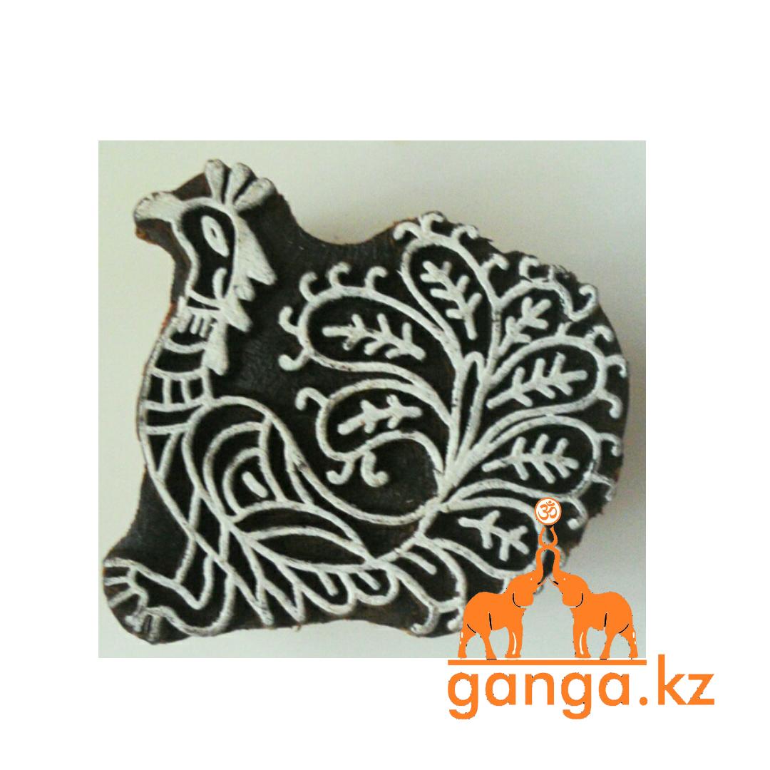 Печать для мехенди Павлин (деревянная), КОД 0373