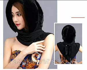 Женский норковый платок капюшон