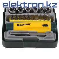 Отвертка реверсивная в наборе с битами и головками KRAFTOOL, 18 предметов, 26143-H18