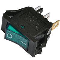 Переключатель KCD3-101N GR/B черный с зеленой клавишей с подсветкой