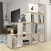 Стеллаж Polini Home Smart Каскадный 10 секций, белый, эффект фанеры, фото 1