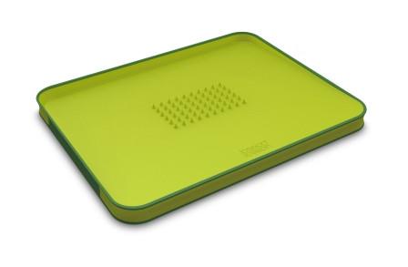 Доска разделочная с бортом, пластиковая 37х29х2,5 см Joseph Joseph Cut&Carve™ Plus, зеленая (60001)