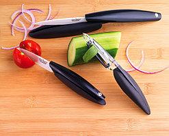 Набор Mastrad 2 ножа 7.6 и 10см, нож для чистки овощей с керамическими белыми лезвиями F22267