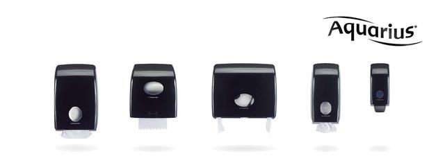 чёрные диспенсеры для туалетной комнаты