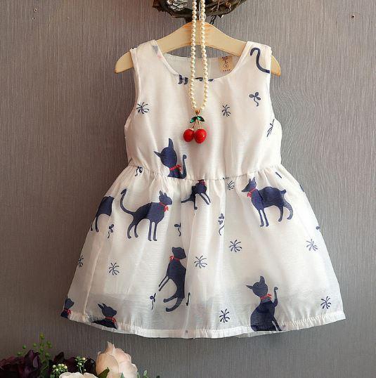Летнее платье с кошками, цвет белый 2,3 года