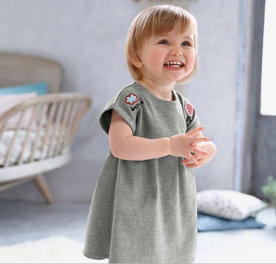 Летнее платье трикотажное, цвет серый, на 7 лет