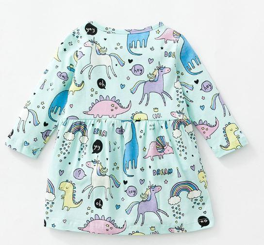 """Платье детское, """"Единороги"""" с длинным рукавом, на 2  и 4 года"""