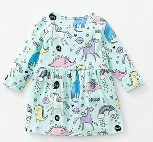 """Платье детское, """"Единороги"""" с длинным рукавом, на 2  года"""