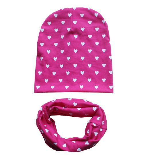 "Весенняя шапочка+снуд, ""Сердечки"", цвет розовый,  на 1-3 года"